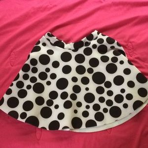 a black and white poker dotted skirt